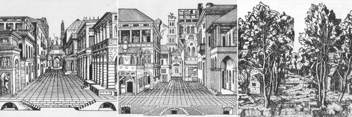 Escenarios trágico, cómico y satírico. Sebastiano Serlio 1537.