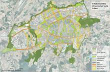 Plano Infraestructura verde urbana de Vitoria-Gasteiz (Capital verde europea 2012). Representación del sistema de infraestructura verde urbana en clave de red o sistema interconectado: espacios núcleo, espacios nodo a través de conectores. Fuente: La infraestructura verde urbana de Vitoria-Gasteiz. Documento propuesta