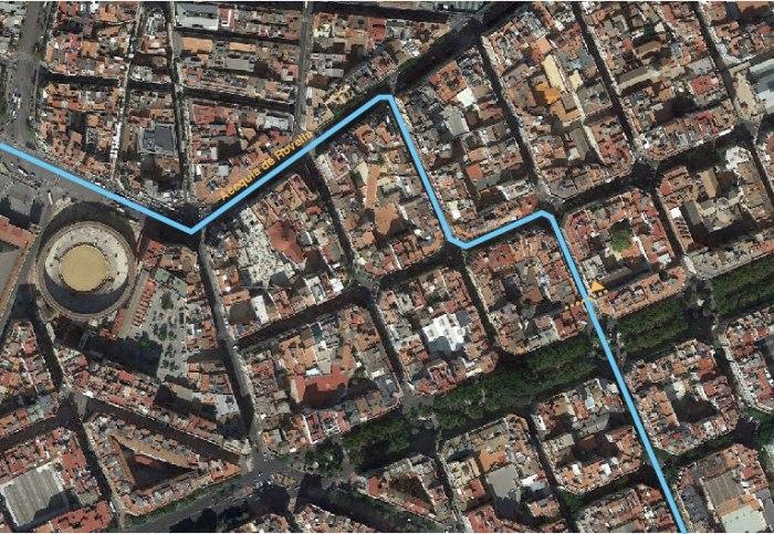 Curso de la Acequia de Rovella en el tramo Calle Colón, Pizarro y Hernán Cortés. Valencia.