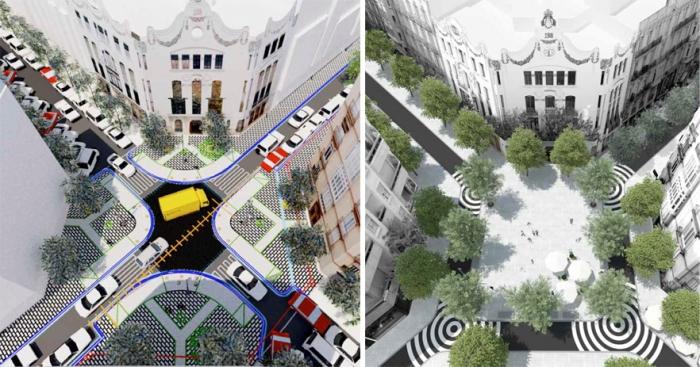 Aprovechamiento del cruce en ambas propuestas: Izda. Proyecto Municipal. Drcha. PAM. Fuente EFGarquitectura