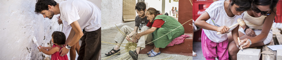 """Actividades para la recuperación de los oficios tradicionales. De Izda. A Drcha. 1. La """"Encalijá"""", actividad desarrollada en el taller: """"Territorios habitables. Espacios para aprender"""" por CPESRM. 2. """"Canastero"""", Frasquito y Teresa muestran la técnica para trabajar la caña. 3. """"Labra en piedra"""" por ARAE. Fuente: elCASC"""