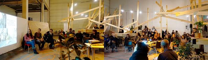 El espacio Ágora y la mesa de redonda sobre espacio público. Fuente: archivo personal