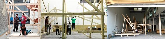 Taller Construcción colectiva en el proceso de construcción del mueble multifuncional que definió el espacio Ágora. Fuente: 1-2.CivicFactory; 3.Archivo Personal