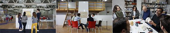 Taller Made in Valencia: Img. 1-2.Procesos de ideación en la Escuela de Innovación cívica de la Factoría cívica, Img. 3. Uno de los procesos de producción de producto cerámico, en el taller del maestro artesano ceramista Juan Carlos Iñiesta. Fuente: archivo personal