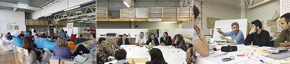 Mesas de trabajo y talleres en el espacio de la Escuela de Innovación cívica. Fuente: 1-2.Archivo personal; 3.Taller Made in Valencia