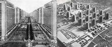 Le Corbusier: Izqda. La Ville Radieuse, 1935. Dcha. Plan Voisin, 1925. Fuente: Fundación Le Corbusier.