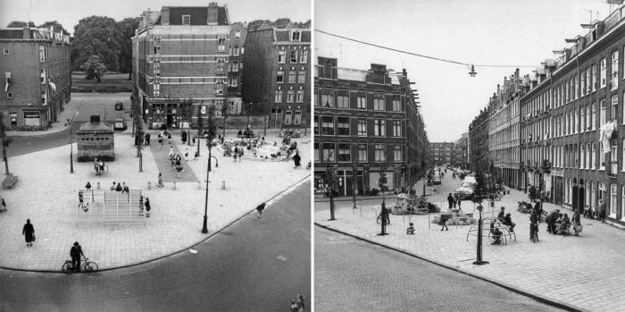 Los Playground de Aldo van Eyck, Amsterdam. Integración de elementos para el juego en el espacio de la calle. Fuente: play-scapes.com