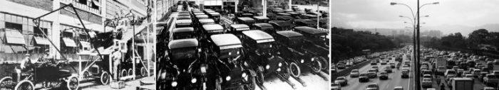 Serie retrospectiva 1913-2005. De izda. a dcha: Línea de montaje de Ford (1913) fuente wikipedia; Producción max. alcanzada de la serie modelo A Ford (1927) fuente web, autor desconocido; Autopista del Este, Caracas (2005) fuente web, autor desconocido.
