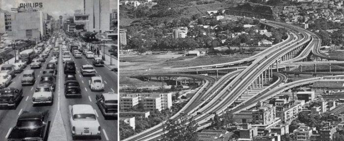 """Caracas 1950. Izda. El aluvión del auto en la ciudad / Dcha. Distribuidor """"el pulpo"""" de la autopista Francisco Fajardo."""